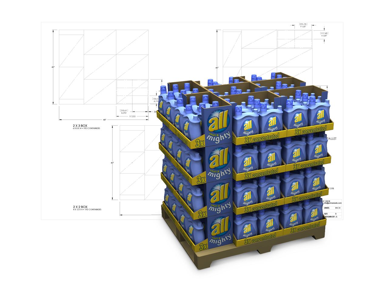 Laundry bottle pallet design