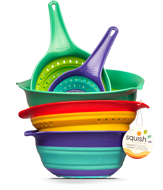 Squish collapsible colanders